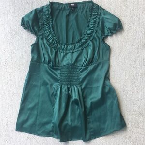 Satin Emerald Green pleated .. hip length